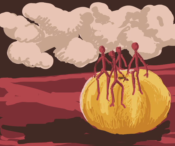 7 pink clouds, 4 red stickman, 1 big pumpkin