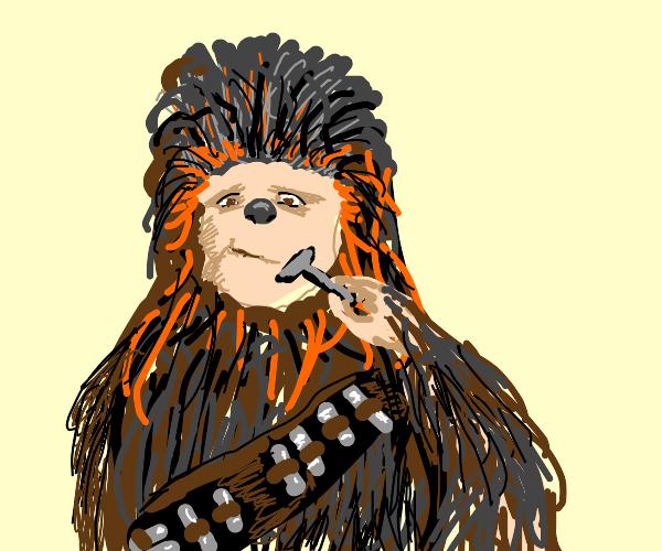 Chewbacca shaves.