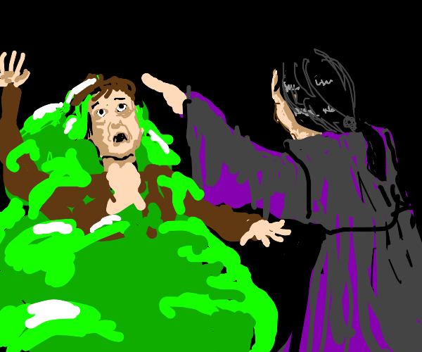 Man turns someone into a green blob