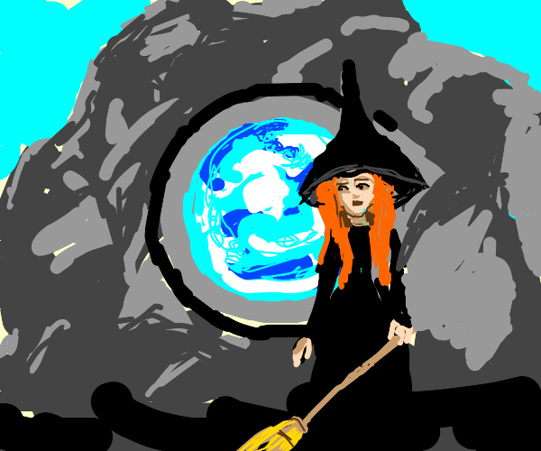 A witch stand at her rocky portal
