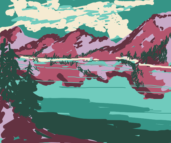 A heccing beautiful pond scene w/ mountains