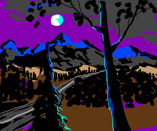 Shawdowy andscape with mountains and trees/ a
