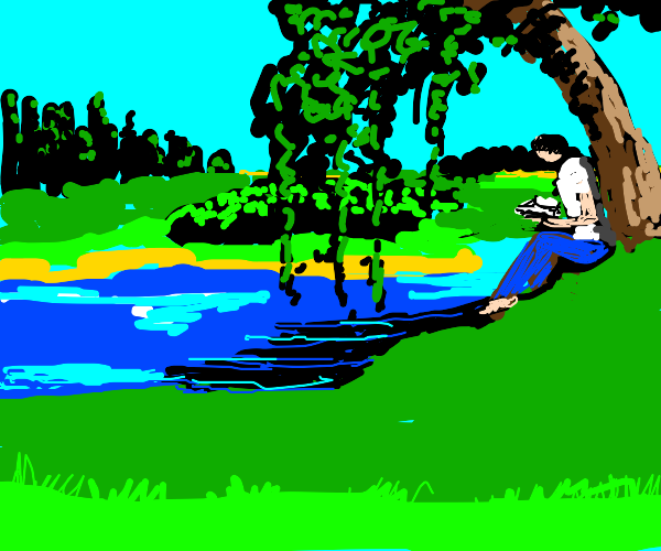 dude reading under a tree