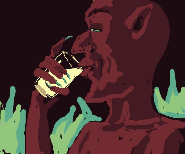 Satan drinks a glass of milk