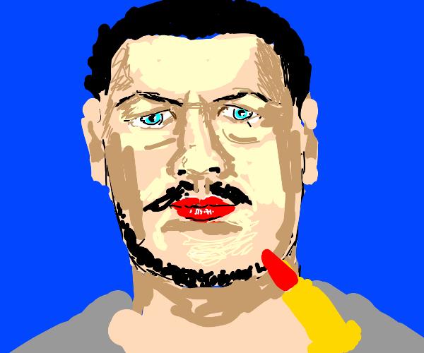 Man in lipstick