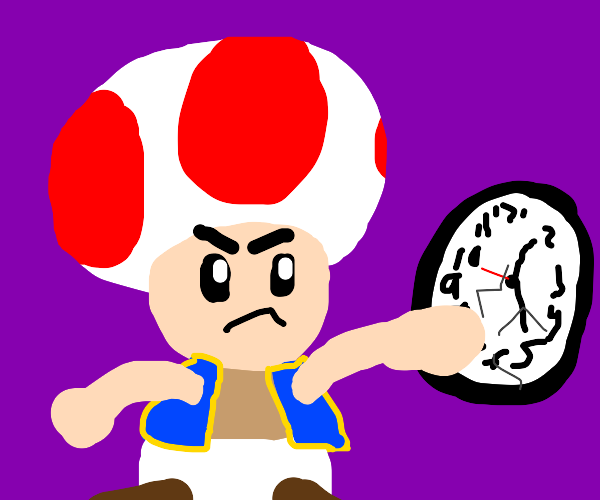 rebellious Toad from Mario punches clock
