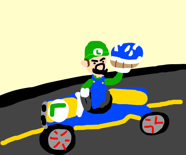 Angry Luigi with blue shell in mario kart