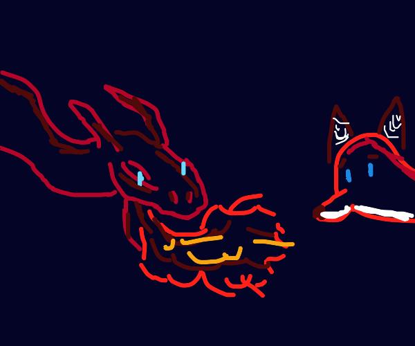 Dragon blowing fire towards fox
