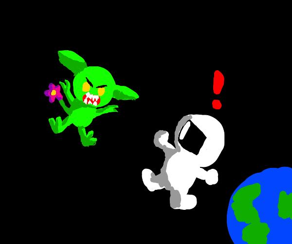 A Gremlin w/a Flower Tail Attacks a Astronaut