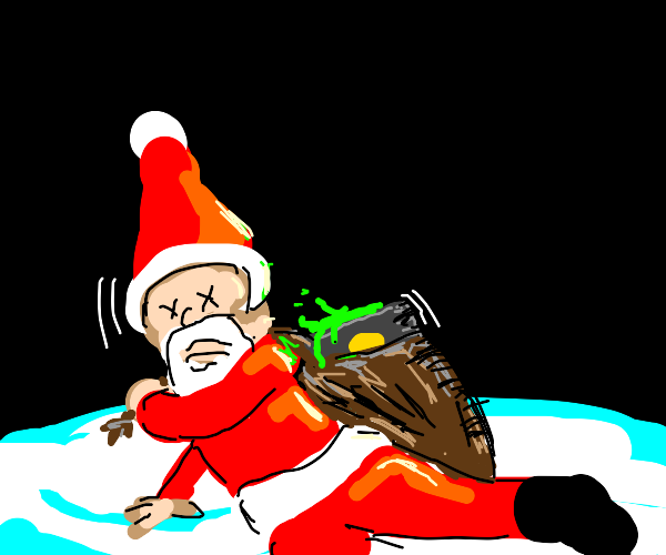 Santa dies while carrying green object