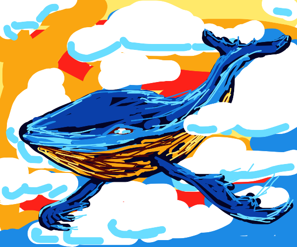 Whale flying in a sunset through the clouds