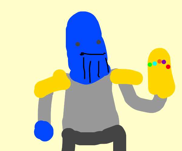 thanos with a blue body