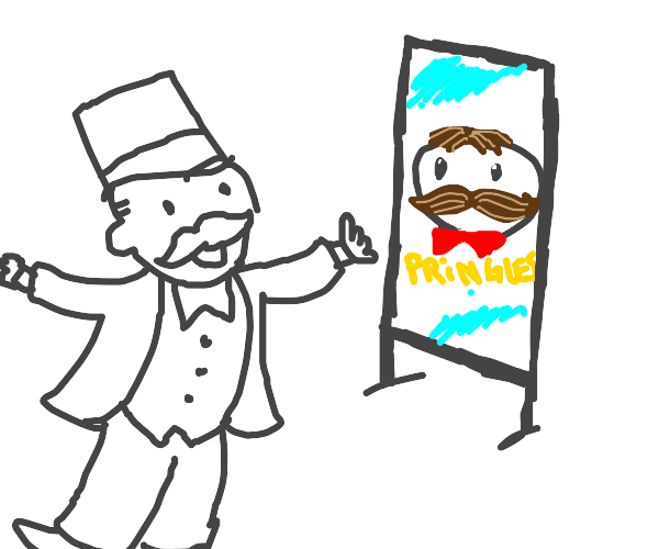 Monopoly guy sees Pringles mascot in the mirr