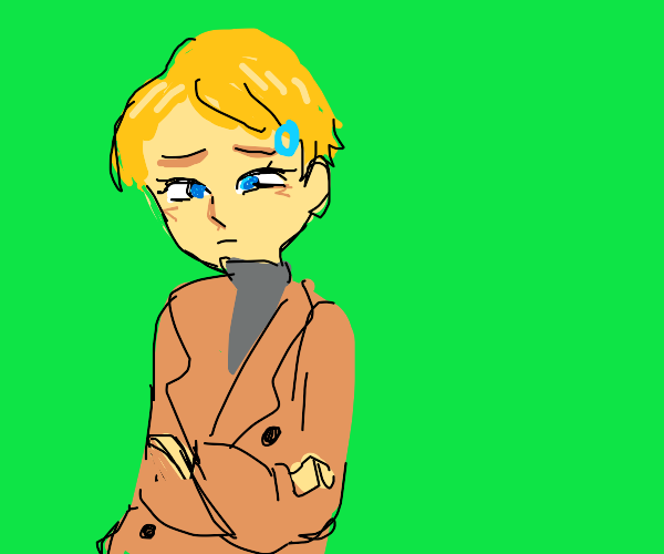 blond android in trench coat is sad