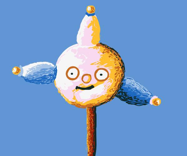 clown's head on a stick