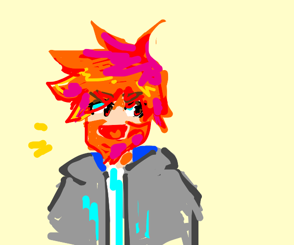 anime kid with orange hair and orange beard