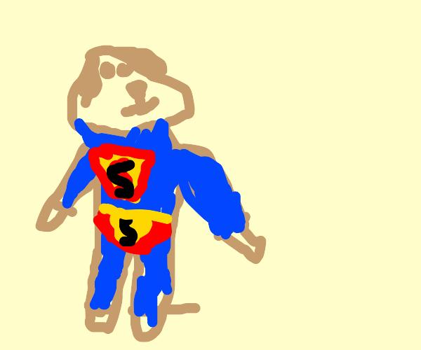Dog in superman uniform