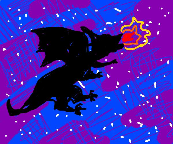 Dragon descending in the night