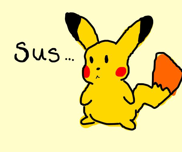 Person calls Pikachu sus