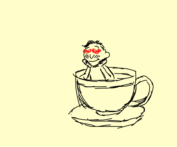 Tiny person in a teacup, falls in love