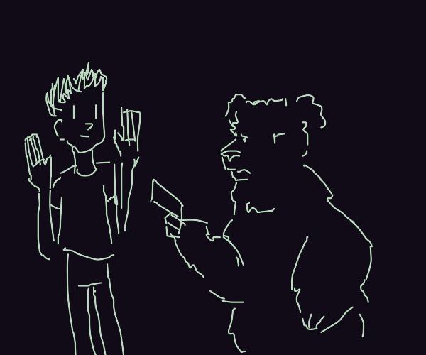 Bear holding man at gunpoint!