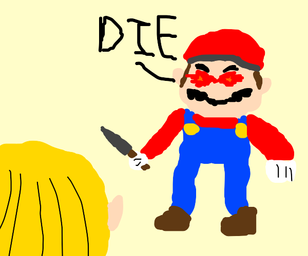 mario attempts to stab you with a knife