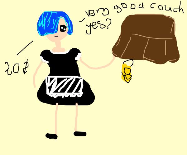 Girl named REM tries to sell you furniture