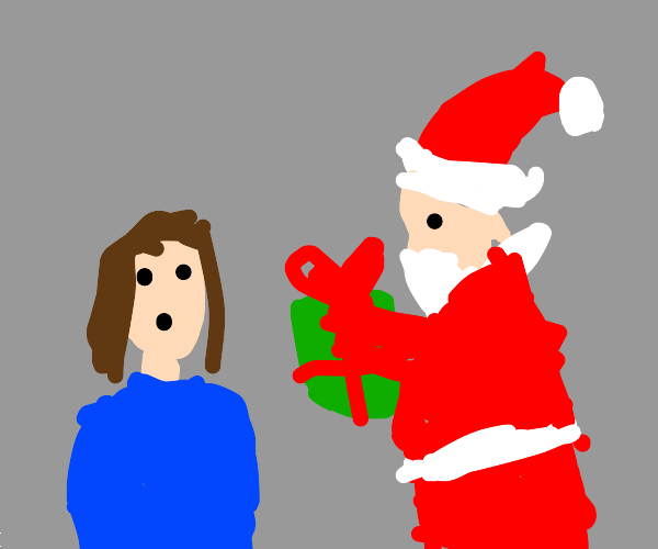 santa suprises girl with gift