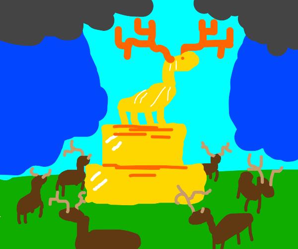 Moose circle a gold altar