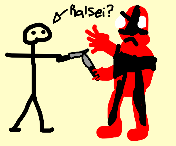 Ralsei and Deadpool joust with knives