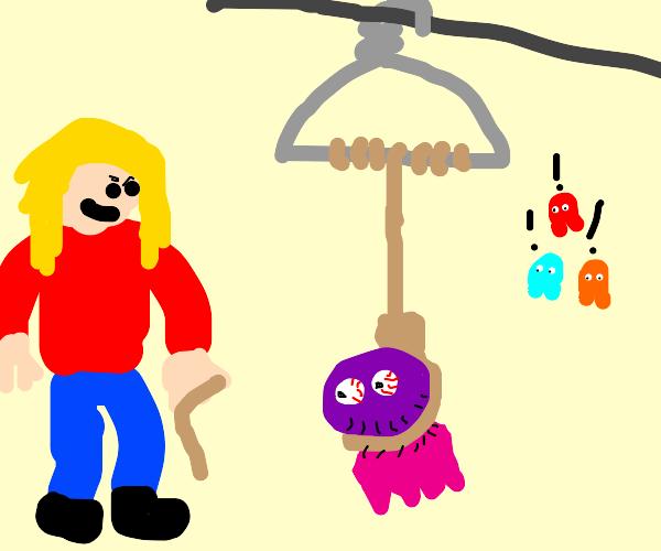 girl hanging blinky onto a clothing hanger