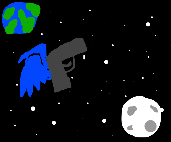 Gun with blue wings flying in outer space
