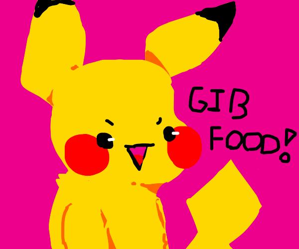 Hangry Pikachu demands noms