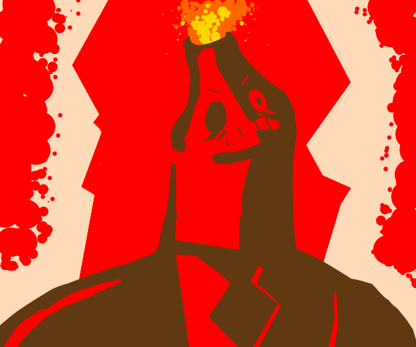 angerey volcano man on fire and exploding