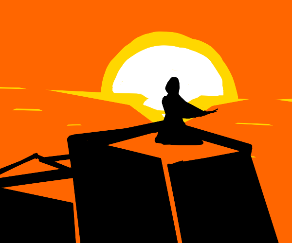 silhouette of a woman stairs into the sunset