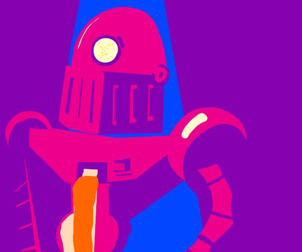 pink robot man bleeds lava
