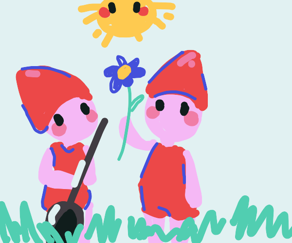 two red garden gnomes