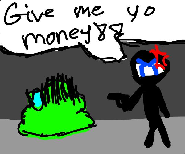 Green Blob-Man Held at Gunpoint by a Ninja