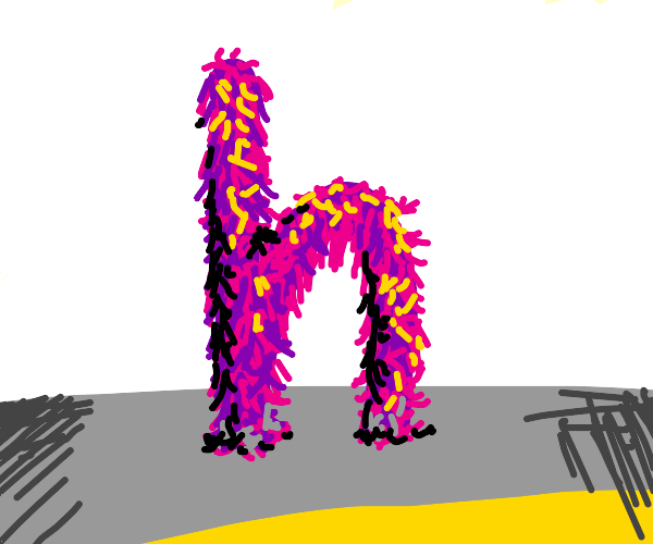 Hairy purple letter h