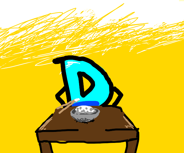 drawception D eats rice with chopsticks
