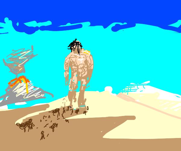 Giant walks in desert with volcano