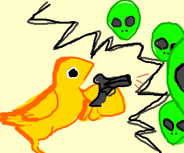 bird with a gun shoots tiny bullets at aliens