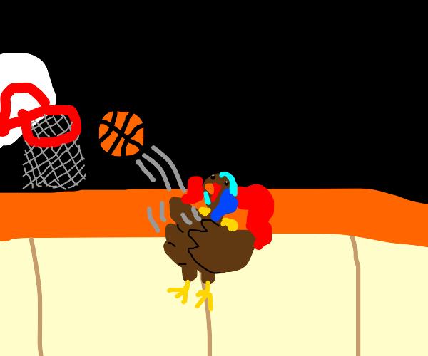 Turkey plays basketball