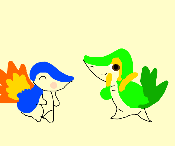 a cyndaquil and snivy