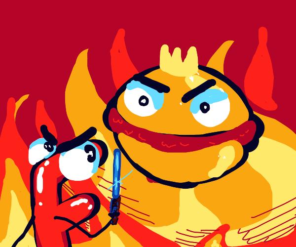 F emoji fighting the hamburger boss
