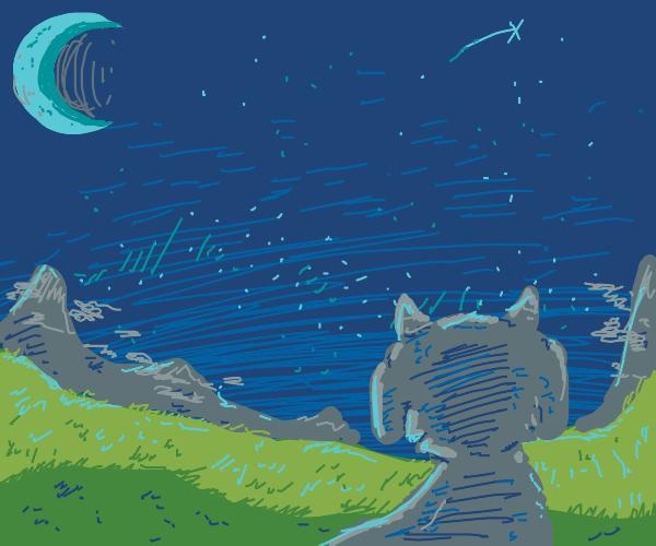 goat lost in mountain fields, under moonlight