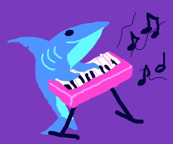 Shark plays pink keybored
