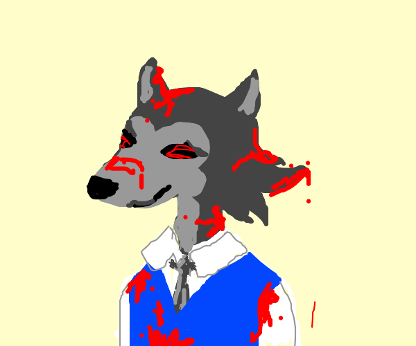 Legosi with red eyes and covered in blood