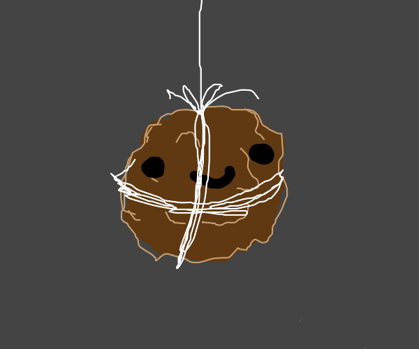 smiling meatball on string