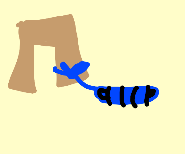 Pants with blue rope tied to one leg